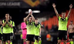 Celtic's Scott Brown (centre) applauds the fans after the match