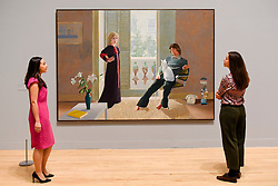 """© Licensed to London News Pictures. 06/02/2017. London, UK. Staff members view """"Mr and Mrs Clark and Percy"""" at the preview of the world's most extensive retrospective of the work of David Hockney at the Tate Britain, which will be on display 9 February to 29 May 2017. Photo credit : Stephen Chung/LNP"""