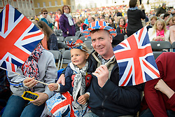 File photo dated 09/05/15 showing Alice, aged 4, from Sutton with father Chris, waving their flags during the VE Day 70th Anniversary Party to Remember on Horse Guards Parade Ground, London, celebrating VE (Victory in Europe) Day in London, marking the end of the Second World War in Europe.