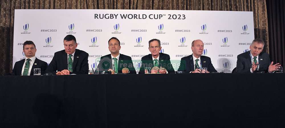 (left to right) Former Ireland captain Brian O'Driscoll, IRFU Chief Executive Philip Brown,Taoiseach, Leo Varadkar, Dick Spring Chairman, Ireland 2023 Oversight Board, Transport Minister Shane Ross and David Sterling, Head of the Northern Ireland Civil Service, during the 2023 Rugby World Cup host candidates presentations at the Royal Garden Hotel in London, where they are bidding to host the event against France and South Africa.