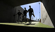 GLENDALE, AZ - MARCH 13:  Members of the Chicago White Sox head for the clubhouse after morning practice at Camelback Ranch in Glendale, Arizona. (Photo by Ron Vesely)