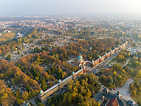 Aerial view of Mirogoj Cemetery during a sunny day, Zagreb, Croatia.