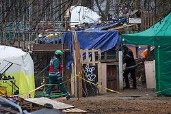 © Licensed to London News Pictures.01/02/2021, London,UK. Bailiffs work to evict a group of eco-activists which is living in increasingly unstable tunnels beneath the Euston Square Gardens in central London.The eviction of HS2 Rebellion group the square began five days ago and continues today.  Photo credit: Marcin Nowak/LNP