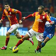 Galatasaray's Noureddine Amrabat (C) during their Turkish Super League soccer match Galatasaray between MP Antalyaspor at the TT Arena Stadium at Seyrantepe in Istanbul Turkey on Sunday 10 February 2013. Photo by TURKPIX
