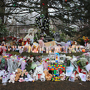 The shrine set up around the towns Christmas tree in Sandy Hook after the mass shootings at Sandy Hook Elementary School, Newtown, Connecticut, USA. 16th December 2012. Photo Tim Clayton