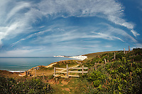 A Panoramic Vertorama of Cirrus Clouds over Compton Bay<br /> <br /> Created from six frames shot with the Sigma 10-20mm at f4.0 1/2000<br /> <br /> Part of the Ocean Seen - Oceanic Photography Exhibition.<br /> <br /> Sponsored by Wightlink - Dimbola Museum & Galleries, Freshwater Bay, Isle of Wight - 29th June to 2nd September 2012.<br /> <br /> A collaborative summer show, bringing together three great oceanic photographers to celebrate the way we interact with our great British coastline.