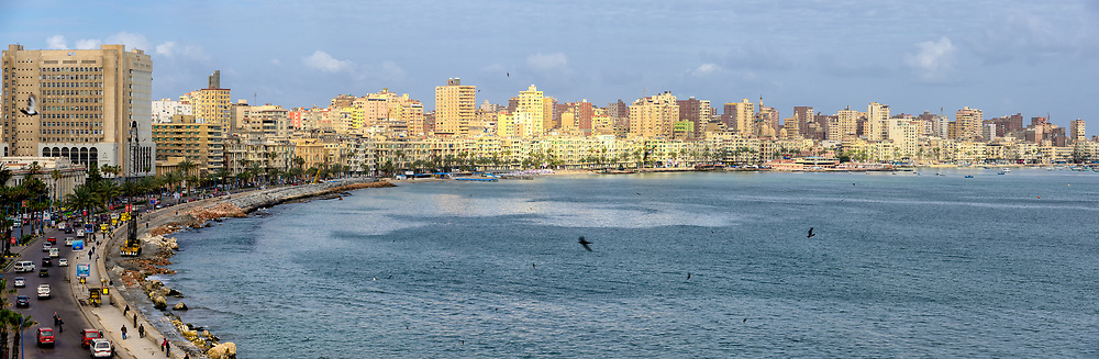 Early morning light reflected off the buildings along the Corniche in Alexandria