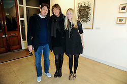 Left to right, ANDREW & SOPHIE BRUDENELL-BRUCE and their daughter CHRISTABEL LAWSON-JOHNSTON at a Pop Up exhibition of Fine Art held at the Broadbent Gallery, 25 Chepstow Corner, Chepstow Place, London W2 on 7th December 2010.