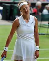 Tennis - 2019 Wimbledon Championships - Week One, Friday (Day five)<br /> <br /> Womens singles, 3th Round Simone Halep (ROU) v Victoria Azarenka (BLR)<br /> <br /> Victoria Azarenka two points from defeat on Centre Court <br /> <br /> COLORSPORT/ANDREW COWIE