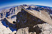 Mount Whitney trail from the summit, Sequoia National Park, Sierra Nevada Mountains, California USA