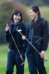 Miss Japan Midori TANAKA and Miss China Chen LIU..The Miss World participants play golf at the world famous Gleneagles Hotel, host of The Ryder Cup 2014..MISS WORLD 2011 VISITS SCOTLAND..Pic © Michael Schofield.