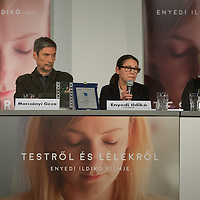 """Movie director Ildiko Enyedi (2nd R) of Hungary and mempers of the cast talk about their new Golden Bear winning movie """"On Body and Soul"""" during a press conference in Budapest, Hungary on February 21, 2017. ATTILA VOLGYI"""