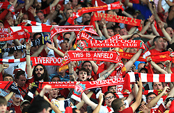 Liverpool fans in the stands show their support prior to the UEFA Champions League Final at the NSK Olimpiyskiy Stadium, Kiev. PRESS ASSOCIATION Photo. Picture date: Saturday May 26, 2018. See PA story SOCCER Champions League. Photo credit should read: Mike Egerton/PA Wire