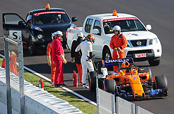 March 6, 2018 - Barcelona, Catalonia, Spain - the McLaren of Stoffel Vandoorne incident during the Formula 1 tests at the Barcelona-Catalunya Circuit, on 06th March 2018 in Barcelona, Spain. (Credit Image: © Joan Valls/NurPhoto via ZUMA Press)