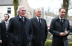 Retired goalkeepers (left to right) Pat Jennings, Ray Clemence and David Seaman at the funeral service for Gordon Banks at Stoke Minster.