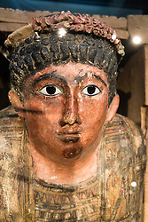 Detail of Mummy at Neues Museum or New Museum on UNESCO Museum Island or Museumsinsel in Berlin Germany