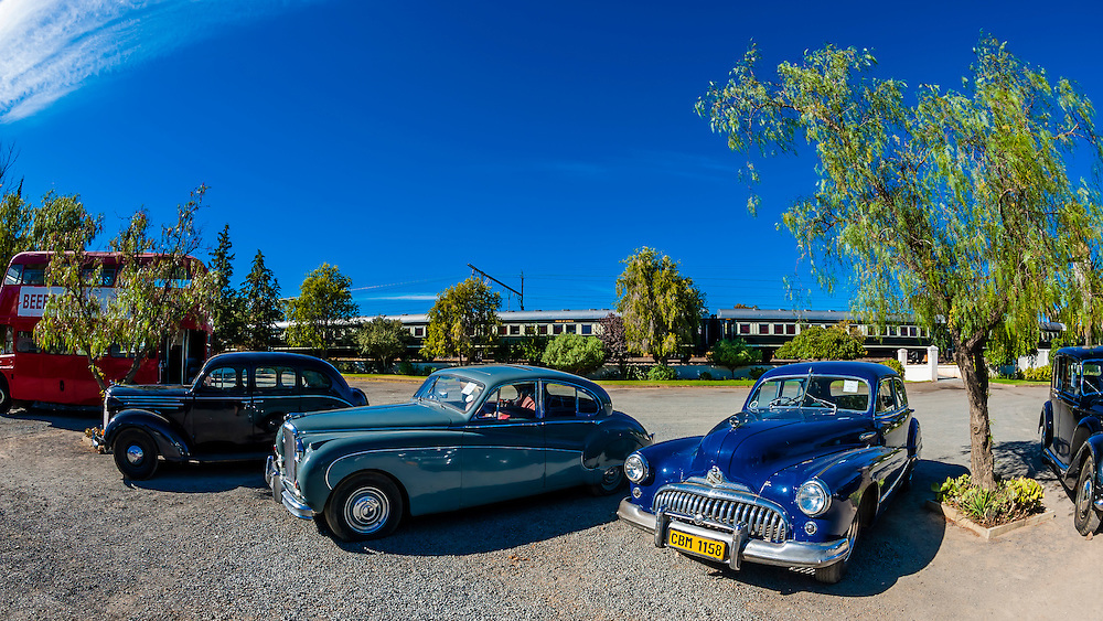 Vintage cars on display, Matjiesfontein, South Africa.