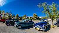 Vintage cars on display, Matjiesfontein, South Africa.