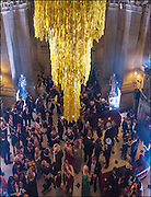 SURREAL CHANDELIER MADE OF RUBBER GLOVES, Ball at to celebrateBlanche Howard's 21st and  George Howard's 30th  birthday. Dress code: Black Tie with a touch of Surrealism. Castle Howard. Yorkshire. 14 November 2015
