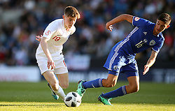 England's Matthew Daly (left) and Israel's Amit Meir battle for the ball during the UEFA European U17 Championship, Group A match at the Proact Stadium, Chesterfield.