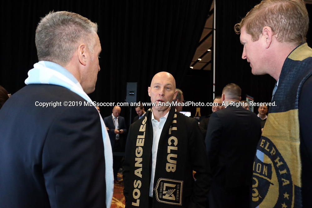 CHICAGO, IL - JANUARY 11: Los Angeles FC head coach Bob Bradley (center) with his counterparts Peter Vermes (Sporting Kansas City) (left) and Jim Curtin (Philadelphia Union) (right). The MLS SuperDraft 2019 presented by adidas was held on January 11, 2019 at McCormick Place in Chicago, IL.