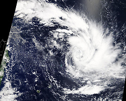 March 22, 2019 - Southern Indian Ocean - MODIS instrument aboard NASA's Terra satellite provided a visible image of Tropical Cyclone Joaninha in the Southern Indian Ocean, east of Madagascar (seen to the left). (Credit Image: © NASA/EOSDIS/ZUMA Wire/ZUMAPRESS.com)