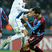 Trabzonspor's Marek CECH (R) and Inter's Dejan STANKOVIC (L) during their UEFA Champions League group stage matchday 5 soccer match Trabzonspor between Inter at the Avni Aker Stadium at Trabzon Turkey on Tuesday, 22 November 2011. Photo by TURKPIX