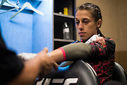 LAS VEGAS, NV - JULY 8:  Joanna Jedrzejczyk has her hands wrapped in the locker room before The Ultimate Fighter Finale at MGM Grand Garden Arena on July 8, 2016 in Las Vegas, Nevada. (Photo by Cooper Neill/Zuffa LLC/Zuffa LLC via Getty Images) *** Local Caption *** Joanna Jedrzejczyk