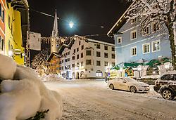iTHEMENBILD - Die verschneite Stadt Kitzbuehel in den morgenstunden aufgenommen am 11. Jänner 2019, Kitzbuehel, Oesterreich // The snowy city of Kitzbuhel in the morning at Kitzbuehel, Austria on 2019/01/11. EXPA Pictures © 2019, PhotoCredit: EXPA/ Stefan Adelsberger