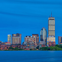Boston skyline photography showing the Prudential Center, Sheraton Hotel Boston, 111 Huntington Avenue and the One Dalton Tower office buildings, luxury apartments and Four Seasons Hotel at night. <br />