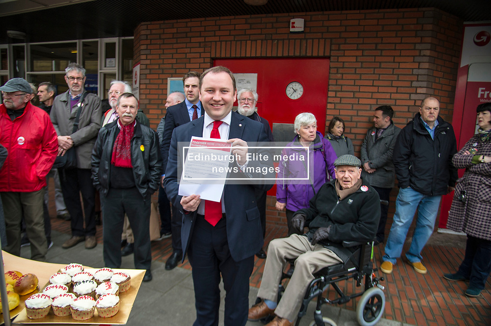 Pictured: Ian Murray was also focused on saving the Morningside Post Office which is a hub of the community.<br /> <br /> <br /> Scottish Labour's Ian Murray and Scottish Labour leader Kezia Dugdale hit the general election campaign trail in Edinburgh today for the first campaign event of Mr Murray's re-election campaign for the Edinburgh South constituency.<br /> Ger Harley | EEm 21 April 2017