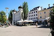 Town hall, Lienz, Tyrol, Austria. in the main pedestrian and shopping street