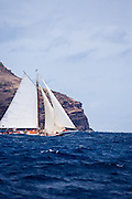 Tradition sailing in the Cannon Race at the Antigua Classic Yacht Regatta.