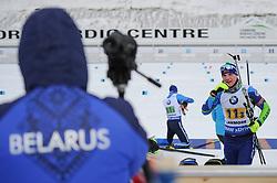 February 8, 2019 - Calgary, Alberta, Canada - Lazouski Dzmitry (Belarus) warms up before the start of Men's Relay of 7 BMW IBU World Cup Biathlon 2018-2019. Canmore, Canada, 08.02.2019 (Credit Image: © Russian Look via ZUMA Wire)