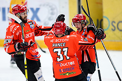 Players of Jesenice celebrate during ice hockey match between HDD SIJ Acroni Jesenice and Migross Supermercati Asiago Hockey in 2 game of Semifinal in AHL - Sky Alps Hockey League, on March 22, 2017 in Jesenice, Slovenia. Photo by Matic Klansek Velej / Sportida