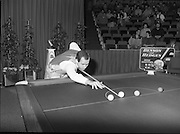 """The Benson and Hedges .Irish Masters Snooker..1984..28.03.1984..03.28.1984..28th March 1984..The championship was held at Goffs,Co Kildare. All the top names in snooker took part..Steve Davis,Jimmy White,Eddie Charlton,.Tony Knowles,Dennis Taylor,Tony Meo,.Alex Higgins,Ray Reardon,.Cliff Thorburn,Terry Griffiths,.Bill Werbeniuk and Eugene Hughes..The eventual winner was Steve Davis who beat Terry Griffiths 9 -1 in the final..Image as Tony Meo """"breaks"""" to get the game underway, Jimmy watches the proceedings.."""
