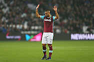 Winston Reid of West Ham United apologises to his teammates after causing an error in his passing. Premier league match, West Ham Utd v Hull city at the London Stadium, Queen Elizabeth Olympic Park in London on Saturday 17th December 2016.<br /> pic by John Patrick Fletcher, Andrew Orchard sports photography.