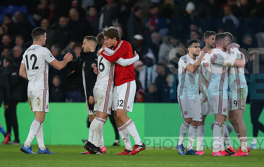 Sheffield United's Oliver Norwood and Sheffield United's Sander Berge celebrate after the Premier League match at Selhurst Park, London. Picture date: 1st February 2020. Picture credit should read: Paul Terry/Sportimage