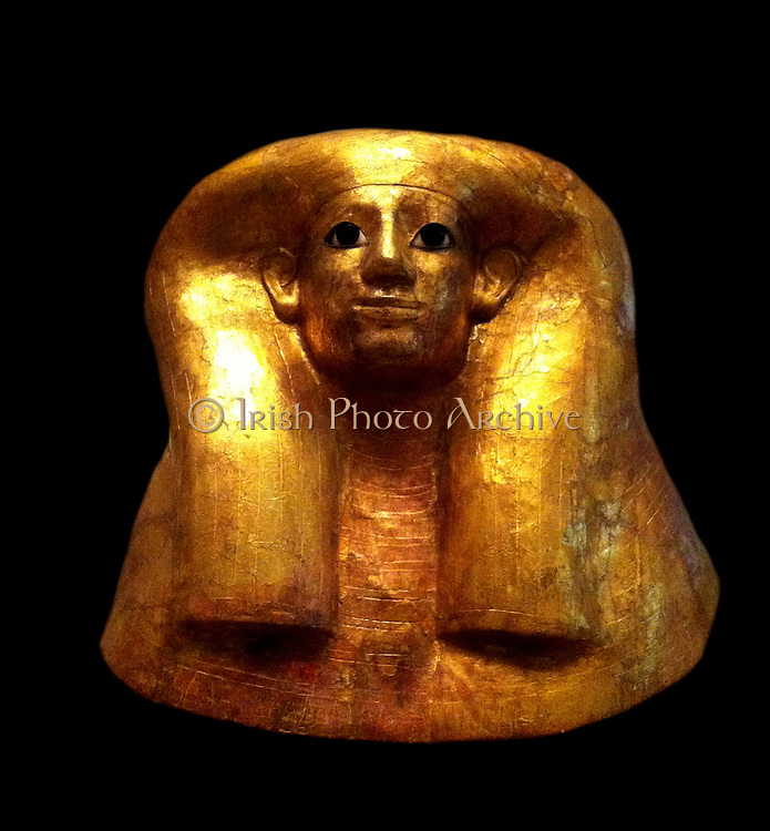 Funerary mask of Hatnofer from the period of the New Kingdom. 18th Dynasty reign of Thutmose II. ca. 1492–1473 B.C. Made in Cartonnage, gold, Egyptian alabaster, obsidian, ebony