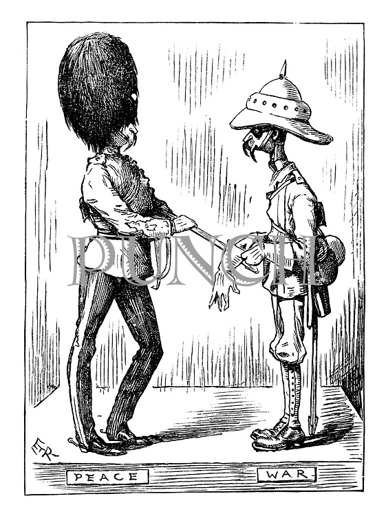 (a Victorian cartoon shows two contrasting portraits of a soldier looking an impressive figure in his peacetime uniform and cutting a much less impressive figure in his wartime battledress uniform)