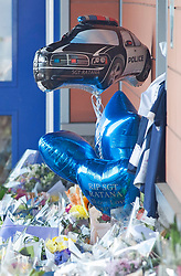 ©Licensed to London News Pictures 28/09/2020  <br /> Croydon, UK.Police car balloon. Flowers for Sgt Matt Ratana at Croydon Custody Centre. The murder investigation continues after the death of police sergeant Matt Ratana at the Croydon Custody Centre in South London last week. Photo credit:Grant Falvey/LNP