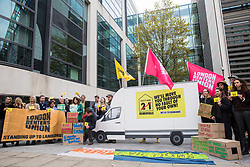 London, UK. 8 October, 2019. Campaigners from Generation Rent UK and London Renters Union protest alongside a replica of a removal van outside the Ministry of Housing, Communities and Local Government against renters being evicted under 1988 Housing Act law which allows landlords to kick out tenants without a reason. The Government is scheduled to debate ending this part of the law on 12th October. Credit: Mark Kerrison/Alamy Live News