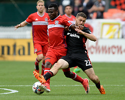 May 20, 2017 - Washington, DC, USA - 20170520 - Chicago Fire midfielder DAVID ACCAM (11) and D.C. United defender CHRIS KORB (22) tangle as they battle for the ball in the first half at RFK Stadium in Washington. (Credit Image: © Chuck Myers via ZUMA Wire)