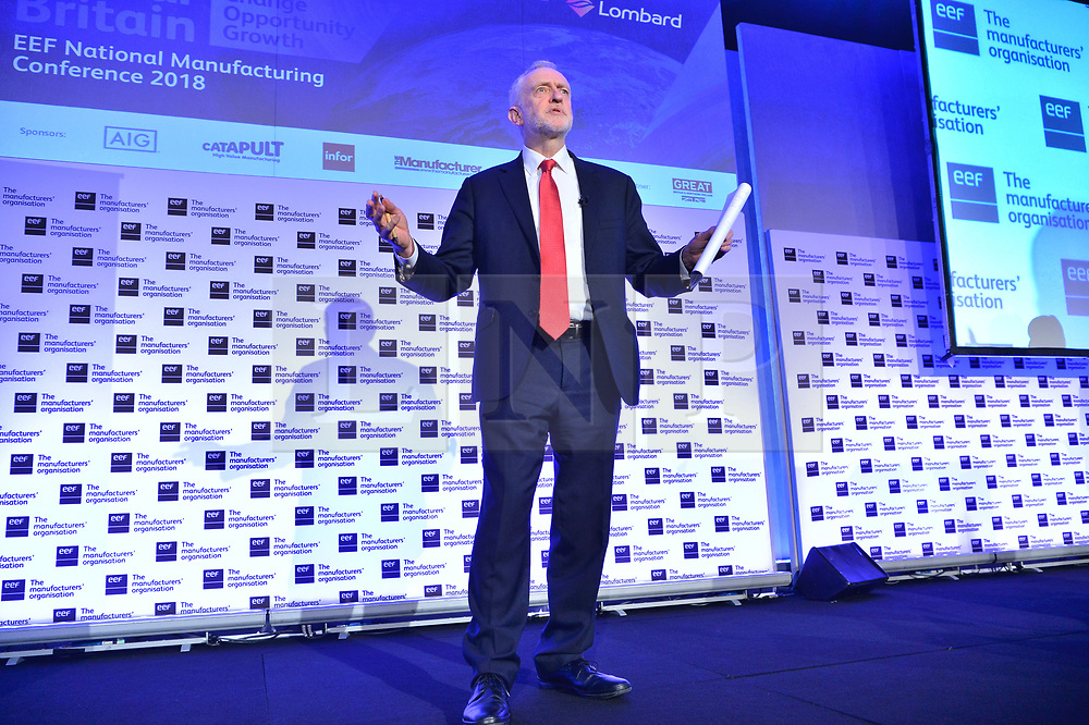 © Licensed to London News Pictures. 20/02/2018. London, UK. Labour party leader JEREMY CORBYN MP<br />  makes a speech at the EEF National Manufacturing Conference 2018, held at QEII center. Photo credit: Ray Tang/LNP