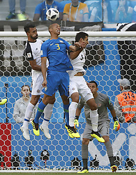 SAINT PETERSBURG, June 22, 2018  Miranda (C front) of Brazil competes for a header during the 2018 FIFA World Cup Group E match between Brazil and Costa Rica in Saint Petersburg, Russia, June 22, 2018. (Credit Image: © Cao Can/Xinhua via ZUMA Wire)
