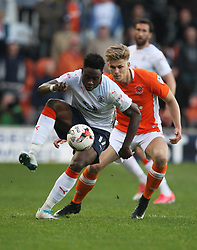 Pelly Ruddock of Luton Town and Brad Potts of Blackpool (R) in action - Mandatory by-line: Jack Phillips/JMP - 14/05/2017 - FOOTBALL - Bloomfield Road - Blackpool, England - Blackpool v Luton Town - Football League 2 Play-off Semi Final Leg 1