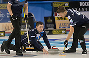 """Glasgow. SCOTLAND.  Scotland """"Vice"""", Glen MUIRHEAD, releases his """"Stone"""" at the Hog Line during the """"Round Robin"""" Game. Le Gruyère European Curling Championships. 2016 Venue, Braehead  Scotland<br /> Tuesday  22/11/2016<br /> <br /> [Mandatory Credit; Peter Spurrier/Intersport-images]"""