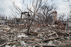 Buildings adjacent to the local polyclinic health centre in the town of Zorinsk have been destroyed by shelling during the recent conflict.