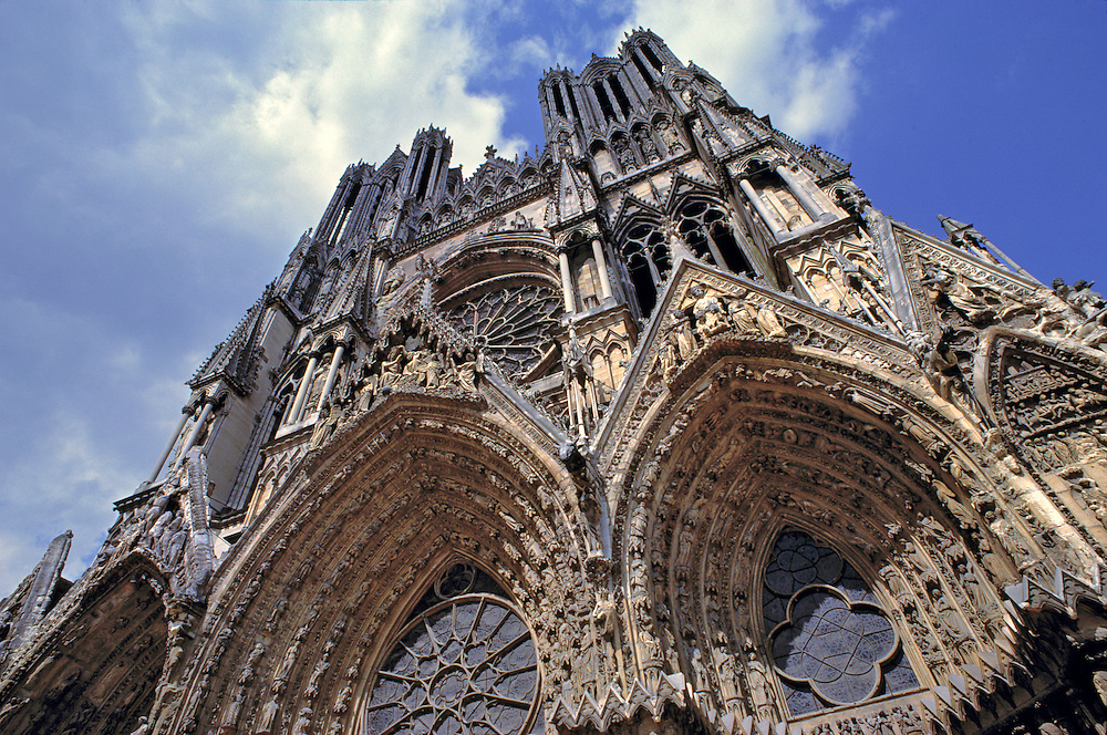 Looking heavenward at Notre Dame Cathedral in Reims, Marne Department, France.