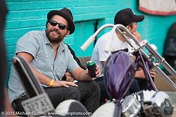 Warren Heir Jr. of Milwaukee on Friday afternoon in the hotel parking lot before the Race of Gentlemen. Wildwood, NJ, USA. October 9, 2015.  Photography ©2015 Michael Lichter.